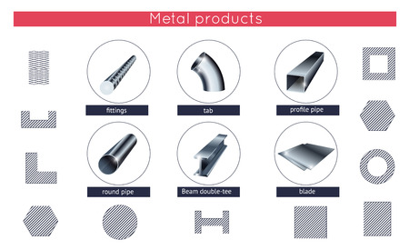 stainless: Rolled metal products icons set
