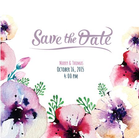 dattes: carton d'invitation avec des éléments de l'aquarelle - Save the date Illustration
