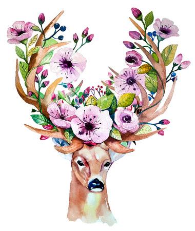 watercolor hand drawn floral set