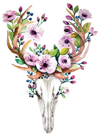 tete de mort: Lumineux aquarelle cerfs crâne avec des fleurs
