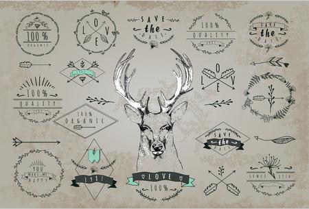 �deer: Conjunto de marcos vintage y etiquetas con ciervos Vectores
