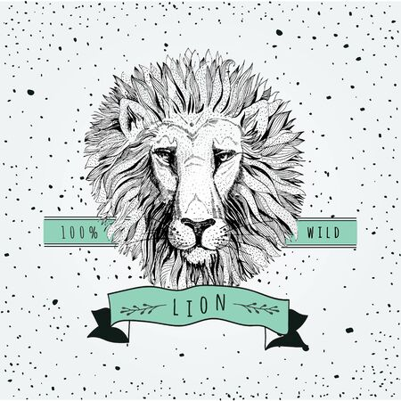 lion cartoon: retro lion head design Illustration