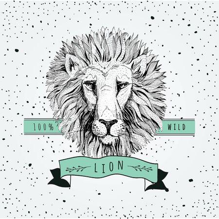 ancient lion: retro lion head design Illustration