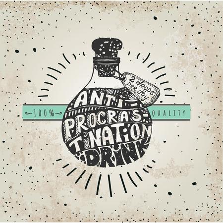 fantasizing: Retro vintage design for stop procrastination Illustration