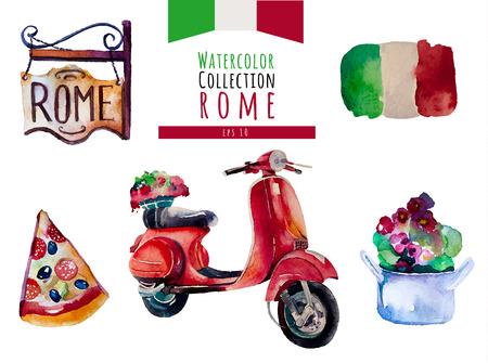 bandera italia: Conjunto de la acuarela Italia Roma Vectores