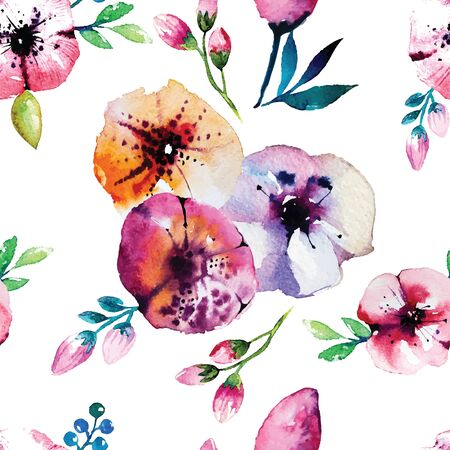 rose flowers: Watercolor painting with Rose flowers