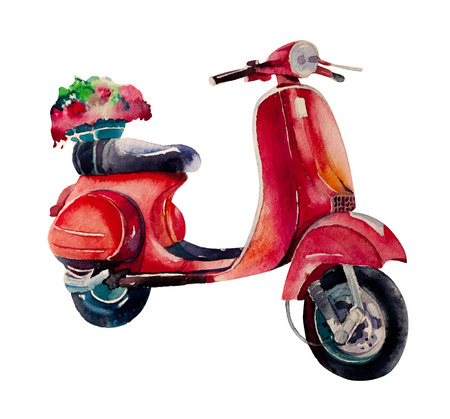 motor scooter: Watercolor vintage scooter
