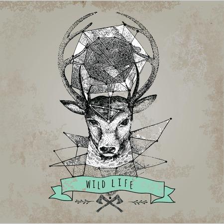 horns: Deer head and horns face log