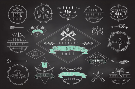 logo music: Collection of vintage labels, badges and logos Illustration