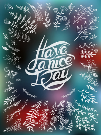 hand beats: Postcard with text have a nice day Illustration