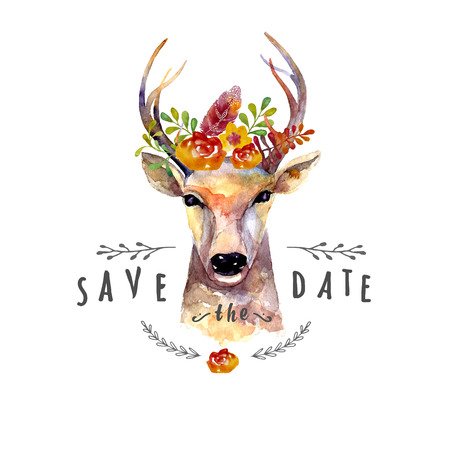 save: Deer watercolor
