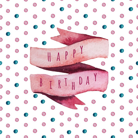splutter: Vector watercolor Happy birthday set. Eps 10. Greeting card with bright elements for your design. Illustration