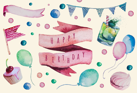 Acuarela feliz conjunto cumpleaños. Dibujado a mano objetos celebración de la vendimia. globos de aire, banderas guirnaldas, cintas, estrellas, puntos brillantes, cócteles, pasteles, zephyr. Elementos de diseño vectorial. Eps 10