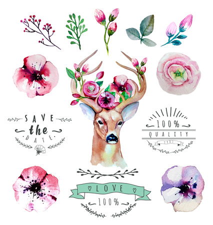 Vector watercolor hand drawn floral set with deer. Colorful floral collection with leaves and flowers, drawing watercolor. Spring or summer design for invitation, wedding or greeting cards