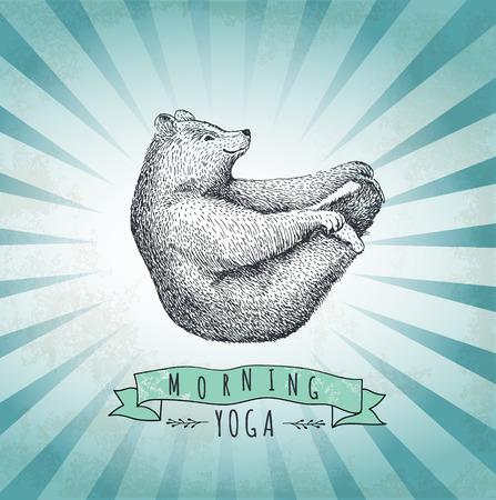 Vintage label bear. Design for T-Shirt. handmad illustration vector label sketch bear. Eps10