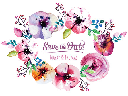 Vector invitation card with watercolor elements. Wedding collection. Save the date with floral elements. Blossom flowers. Vector elements. Vettoriali