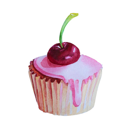 cupcake illustration: Watercolor Hand Drawn Cupcake with cherry. Vector Illustration. Eps 10
