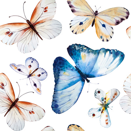 vintage pattern: Watercolor butterflies, seamless floral vintage pattern background, wallpaper. Hand painted illustration.