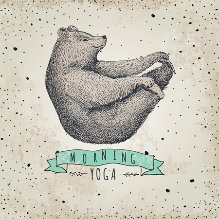 bear: llustration of bear isolated onvintage background. mormimg yoga. Eps 10. Funny bear yoga. Illustration