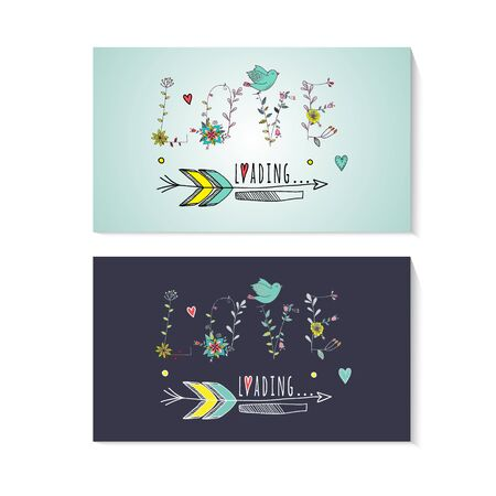 Floral elements of vintage. Prase love is loading in vector. Quotes flower design.