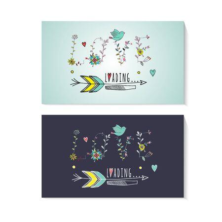 dingbat: Floral elements of vintage. Prase love is loading in vector. Quotes flower design.