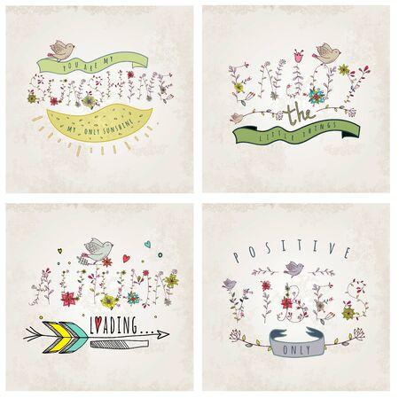 dingbat: Floral elements of vintage. Set of phrases. Quotes flower design. Illustration