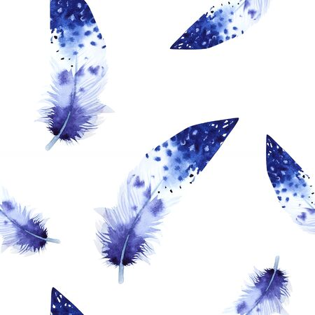 Watercolor birds feathers pattern. Seamless texture with hand drawn feathers. Illustration for your design. Bright colors.