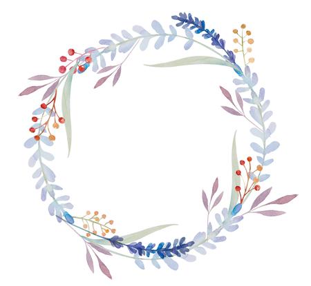 rama de olivo: Con fondo de la acuarela hermosa corona de flores. marco aislado en el fondo blanco.