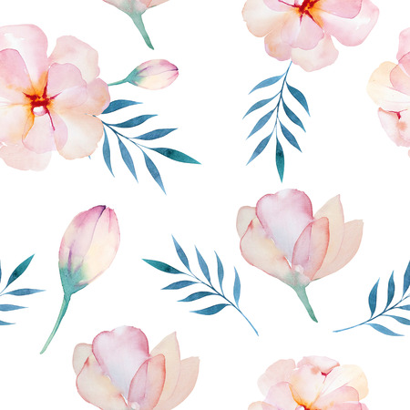Seamless wallpaper with  flowers and leaves, watercolor illustration. Design for invitation, wedding or greeting cards