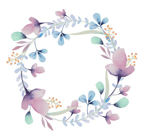 olive branch: Watercolor Background With Beautiful Floral Wreath. frame isolated on white background.