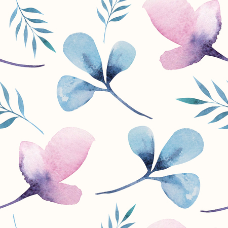flower patterns: Seamless wallpaper with  flowers and leaves, watercolor illustration. Design for invitation, wedding or greeting cards
