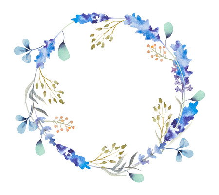 wet leaf: Watercolor Background With Beautiful Floral Wreath. frame isolated on white background.