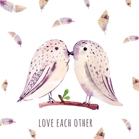 wedding love: Watercolor wedding card with birds. Love each ather. Design for cards