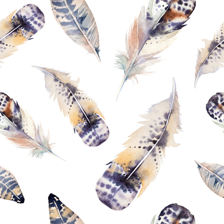 Watercolor birds feathers pattern. Seamless texture with hand drawn feathers. Illustration for your design. 版權商用圖片