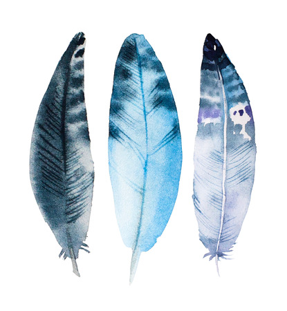 watercolor pen: Hand drawn watercolor feather set. Iillustration isolated on white.  Design for T-shirt, invitation, weddign card.