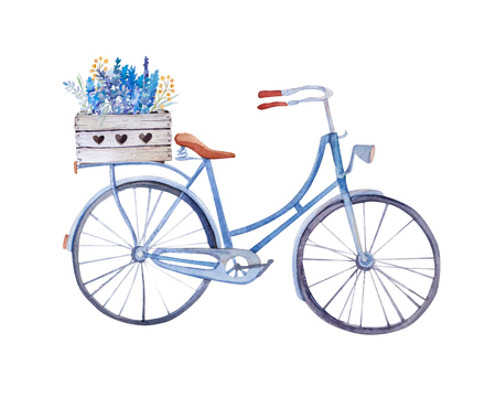 watercolor vintage  bicycle with box of flowers. Illustration for your design.