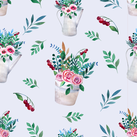 heather: Seamless pattern. Watercolor bouquets of flowers in pot. Rustic floral set in shabby chic style. Country design.