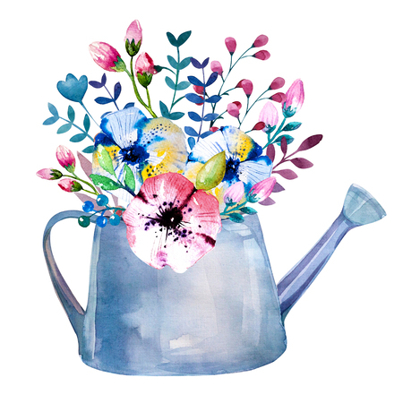 Watercolor bouquets of flowers in pot. Rustic floral set in shabby chic style. Country design. Banque d'images