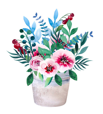 Watercolor bouquets of flowers in pot. Rustic floral set in shabby chic style. Country design. Stockfoto