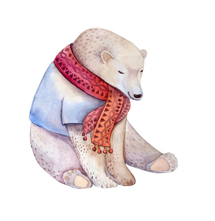 furry animals: Hand drawn watercolor bear. Design for new year, birthday cards. Stock Photo