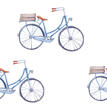 pastel like: Watercolor pattern with bicycles . Retro bike seamless pattern
