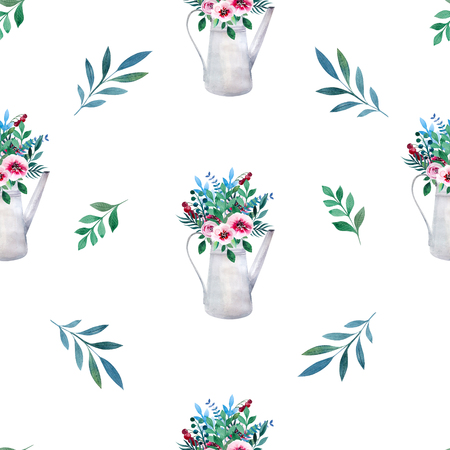 country flowers: Seamless pattern. Watercolor bouquets of flowers in pot. Rustic floral set in shabby chic style. Country design.