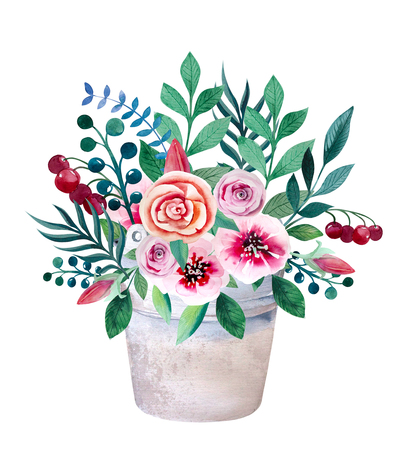 heather: Watercolor bouquets of flowers in pot. Rustic floral set in shabby chic style. Country design. Stock Photo