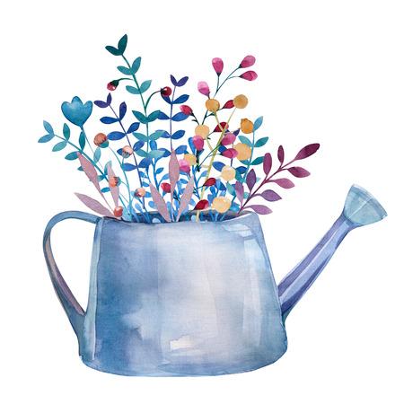 flores moradas: ramos de flores de la acuarela de las flores en maceta. Conjunto floral rústica en estilo elegante lamentable. diseño del país. Foto de archivo