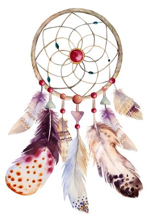 atrapasueños: Dreamcatcher acuarela con cuentas y plumas. Ilustración para su diseño.