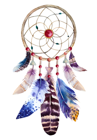 Watercolor dreamcatcher with beads and feathers. Illustration for your design. Imagens - 47100759