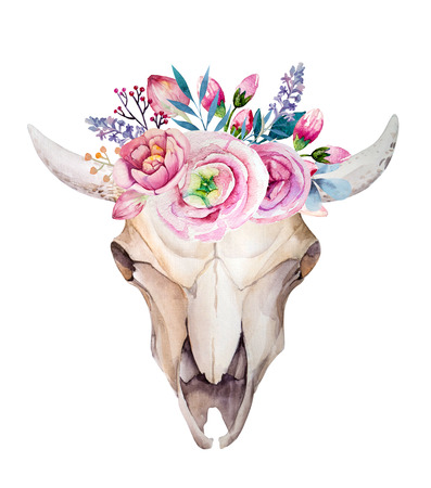 Watercolor cow skull with flowers and feathers. Boho style design