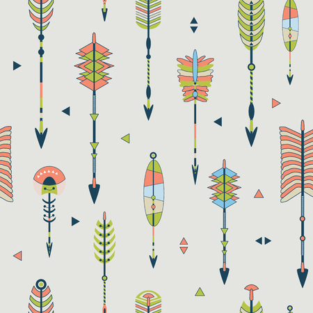 Vector seamless colorful ethnic pattern with arrows in native american style.Tribal arrows on white background.