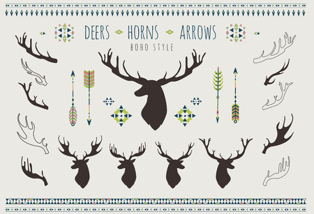 Rustic Antlers. Set silhouettes of rustic antler designs. Tribal style.
