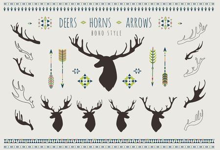 Rustic Antlers. Set silhouettes of rustic antler designs. Tribal style.